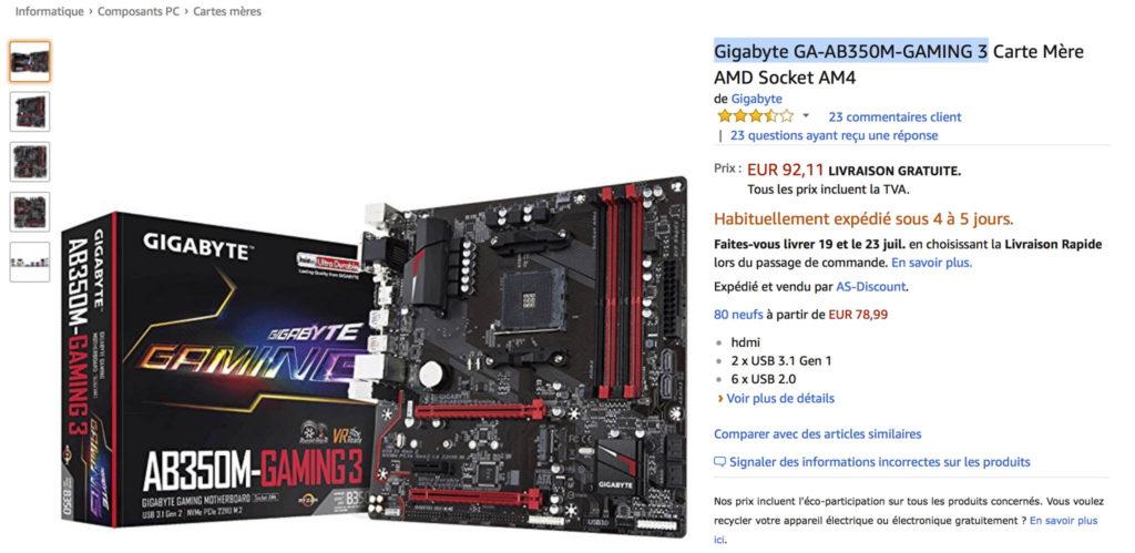 Carte mère Gigabyte GA-AB350M-GAMING 3